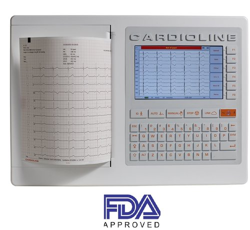 Cardioline ECG 200+ with Trolley & Cable Support