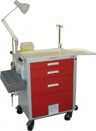 Medisco M-94E Emergency Resus Trolley 4 Drawer with IV Pole