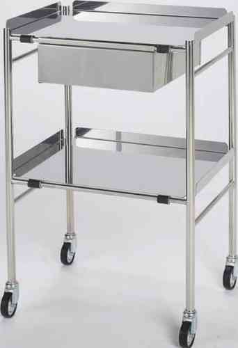 Doherty Stainless Steel Trolley with Drawer (H: 915 x W: 610 x D: 460mm)