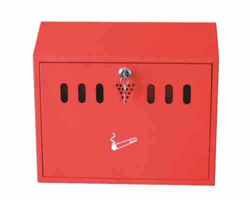 Wall Mounted Ash Bin, Red Finish