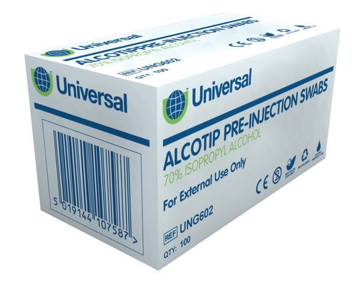Universal Pre-Injection Swabs (Pack of 100)
