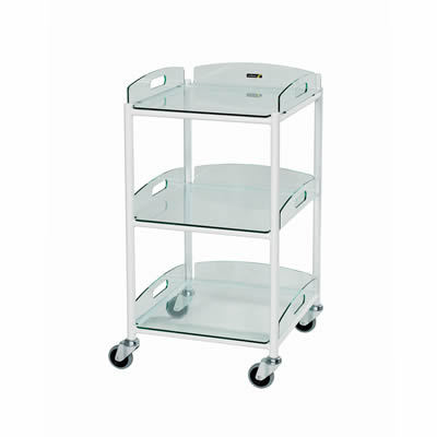 Sunflower Small Dressings Trolley – 3 Glass Effect Safety Trays