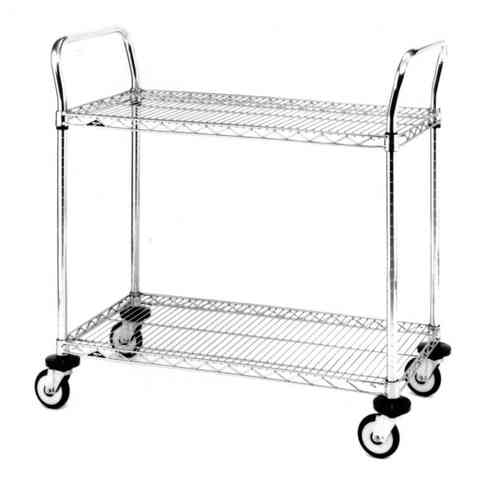 MW Utility Carts - 2 Tier Chrome Trolley 455mm (D) x 610mm (W) x 880mm (H)