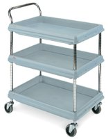 BC Deep Ledge Cart 3-Shelf  Deep (Blue)) - 546x831x1041mm