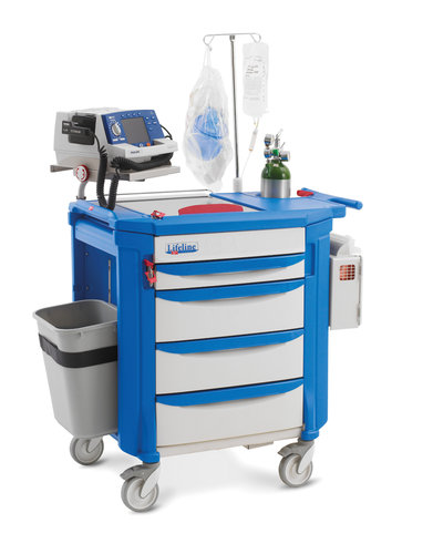 Lifeline LECCRP2 Cart with Passive Lock SClassitem, 1x75mm, 3x152mm Deep Drawers all Blue Drawer pul