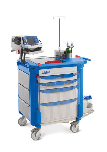Lifeline LECCRP3 Cart with Passive Lock System, 2x75mm, 1x152mm & 1x229mm Deep Drawers all Blue