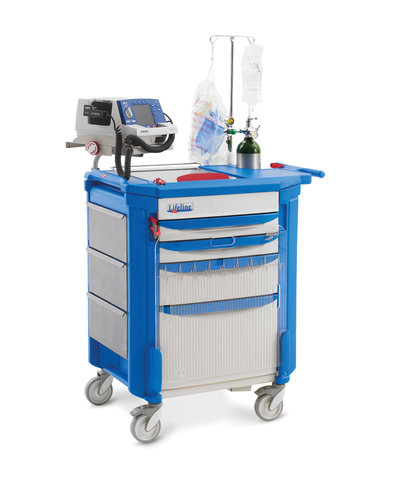 Lifeline LECCRP3 Cart with Passive Lock System, 2x75mm, 1x152mm & 1x305mm Deep Drawers all with Blue