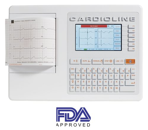 Cardioline ECG 100+ with Trolley & Cable Support