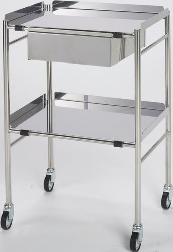 Stainless Steel Trolley with Drawer (H: 915 x W: 765 x D: 460mm)