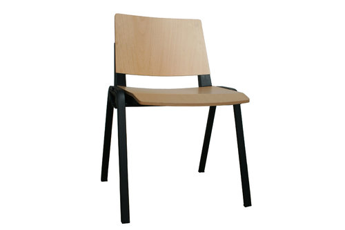 Medi Waiting Room Chair (Black Frame/Wood)