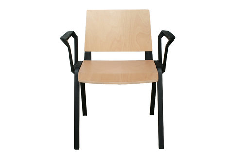 Medi Waiting Room Chair with Arms (Black Frame/Wood)