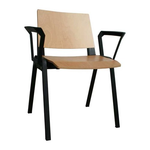 Medi-Beam Waiting Room Chair with Arms (Black Frame/Wood)