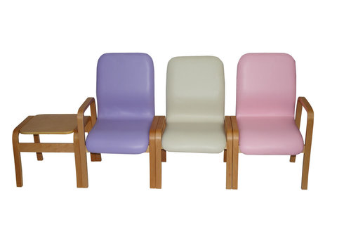 Deluxe Wooden Waiting Room Chairs with Arms Set of 3 - Ash Grey