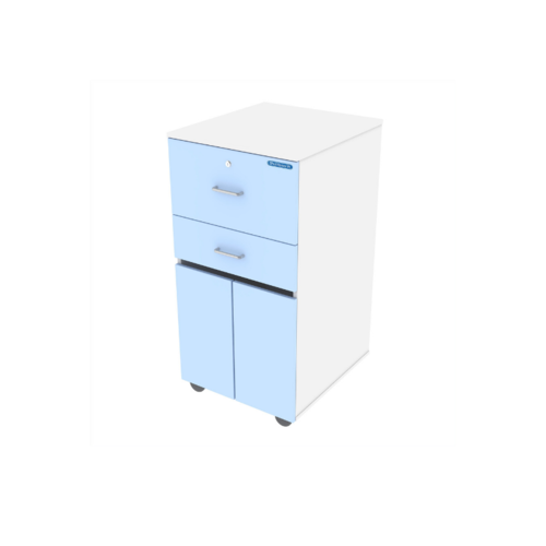 Shuttleworth Bedside Cabinet with CAM Lock - Blue/ White