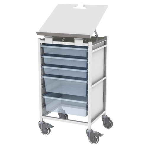 Shuttleworth Column Medical Trolley with Hinged Writing Board Top