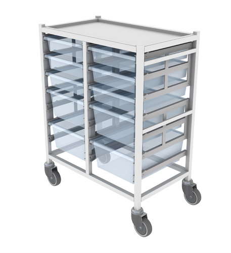 Double Narrow Column Medical Tray Trolley - 762 x 467 x 947.5mm