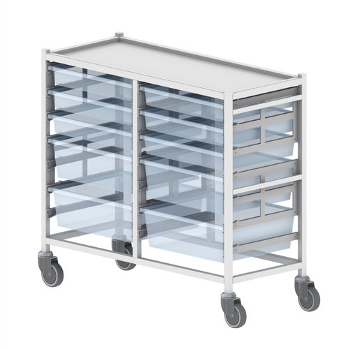 Double Wide Column Medical Tray Trolley - 1070 x 467 x 947.5mm