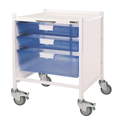 Sunflower VISTA 15 Extra Low Trolley - 2 Single Trays & 1 Double Depth Tray Blue