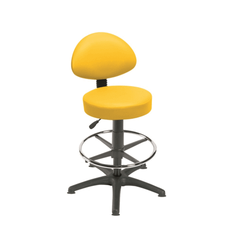 Sunflower Gas Lift Stool with Back Rest, Foot Ring & Glides - Beige