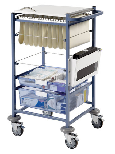 Sunflower Small Medical Notes Trolley - Enclosed Sides & Hinged Top