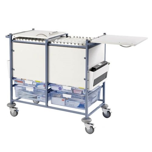 Large Medical Notes Trolley with 2 Digital Combination Locks Enclosed sides hinged tops