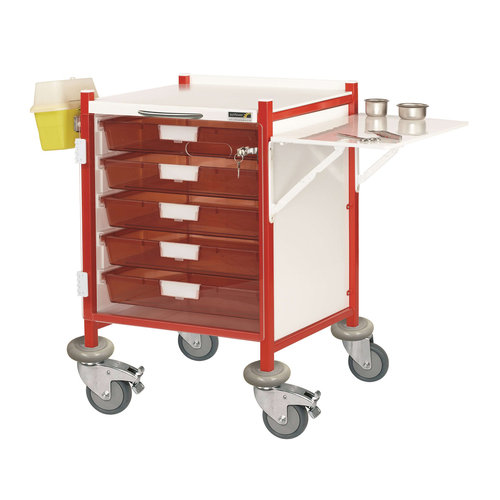 Sunflower VISTA 40 Red Clinical Trolley - 5 Red Trays & Door