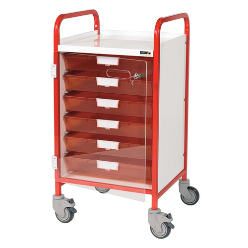 Sunflower VISTA 50 Red Clinical Trolley - 6 Red Trays & Door