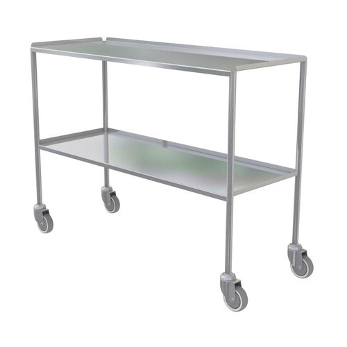 Shuttleworth XXL Stainless Steel Dressing Trolley - Edged-up Fixed Shelves
