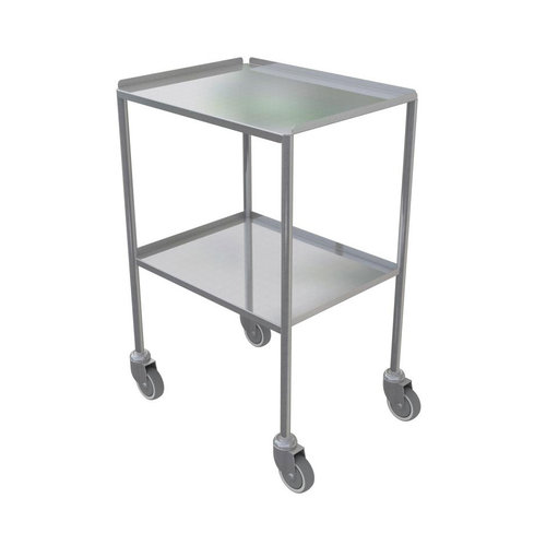 Shuttleworth Large Stainless Steel Dressing Trolley - Edged-up Fixed Shelves