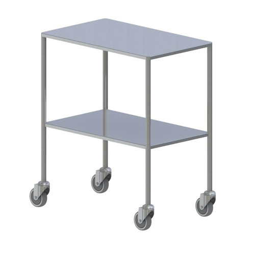 Shuttleworth Large Stainless Steel Dressing Trolley - Flat Fixed Shelves