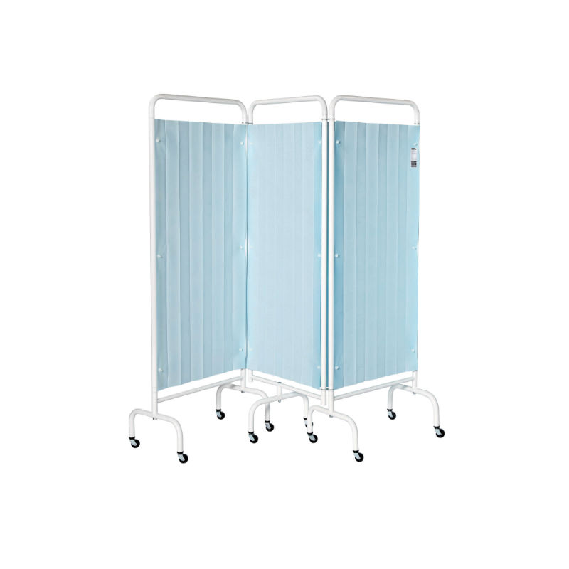 Sunflower 3 Section Screen With Disposable Curtain Pastel Blue Hce Healthcare Equipment