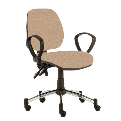 Sunflower M Consultation Chair with Chrome Base - Beige Anti-Bacterial Inter/Vene Upholstery