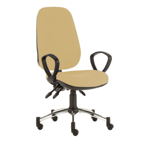 Sunflower D Consultation Chair with Arms - Beige Anti-Bacterial Vinyl