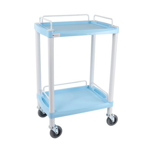 Multi-Coloured Handy Small Trolley – 2 Shelves – Blue
