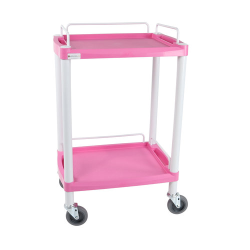 Multi-Coloured Handy Small Trolley – 2 Shelves – Pink